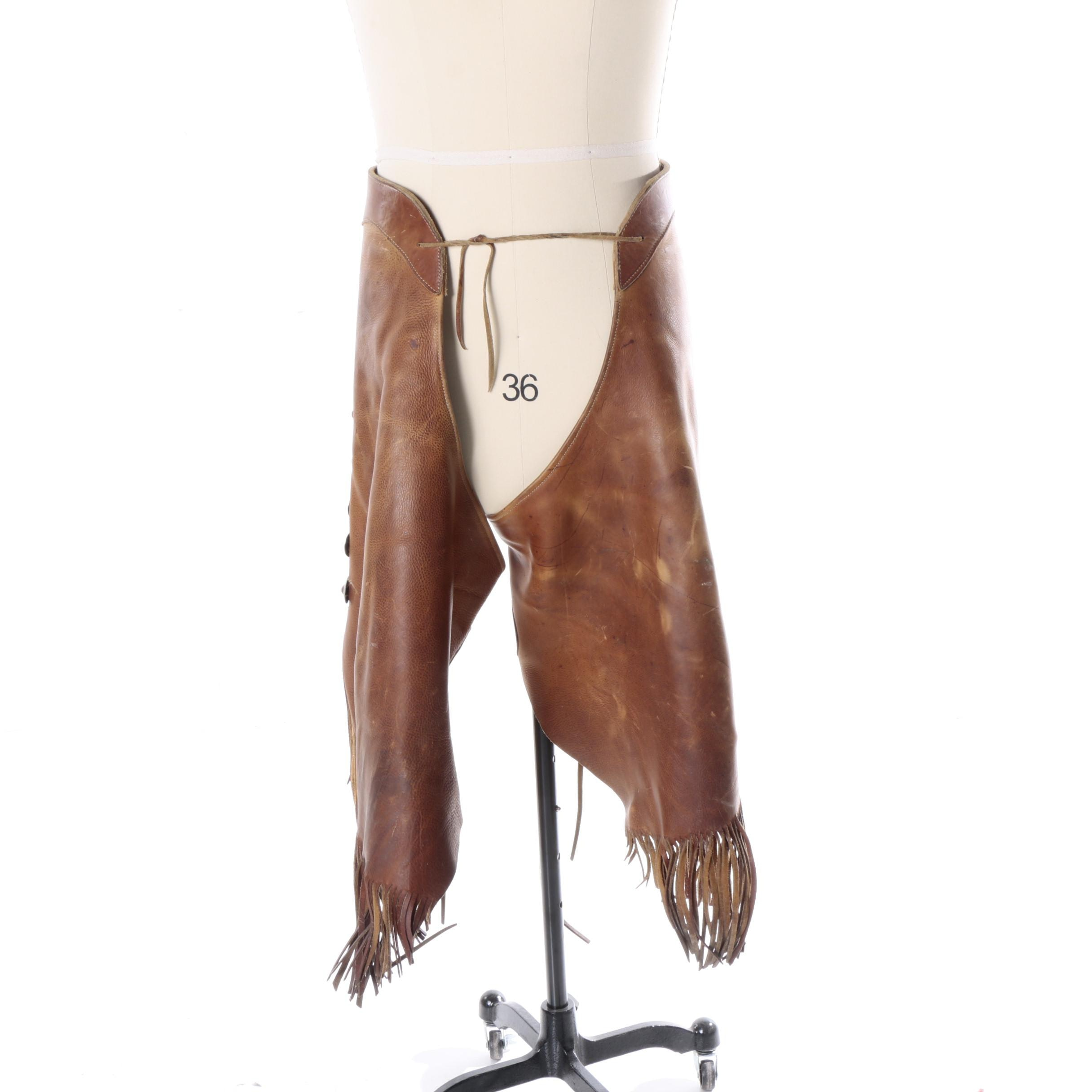Cowboy Basic Leather Chaps with Silver Toned Accents