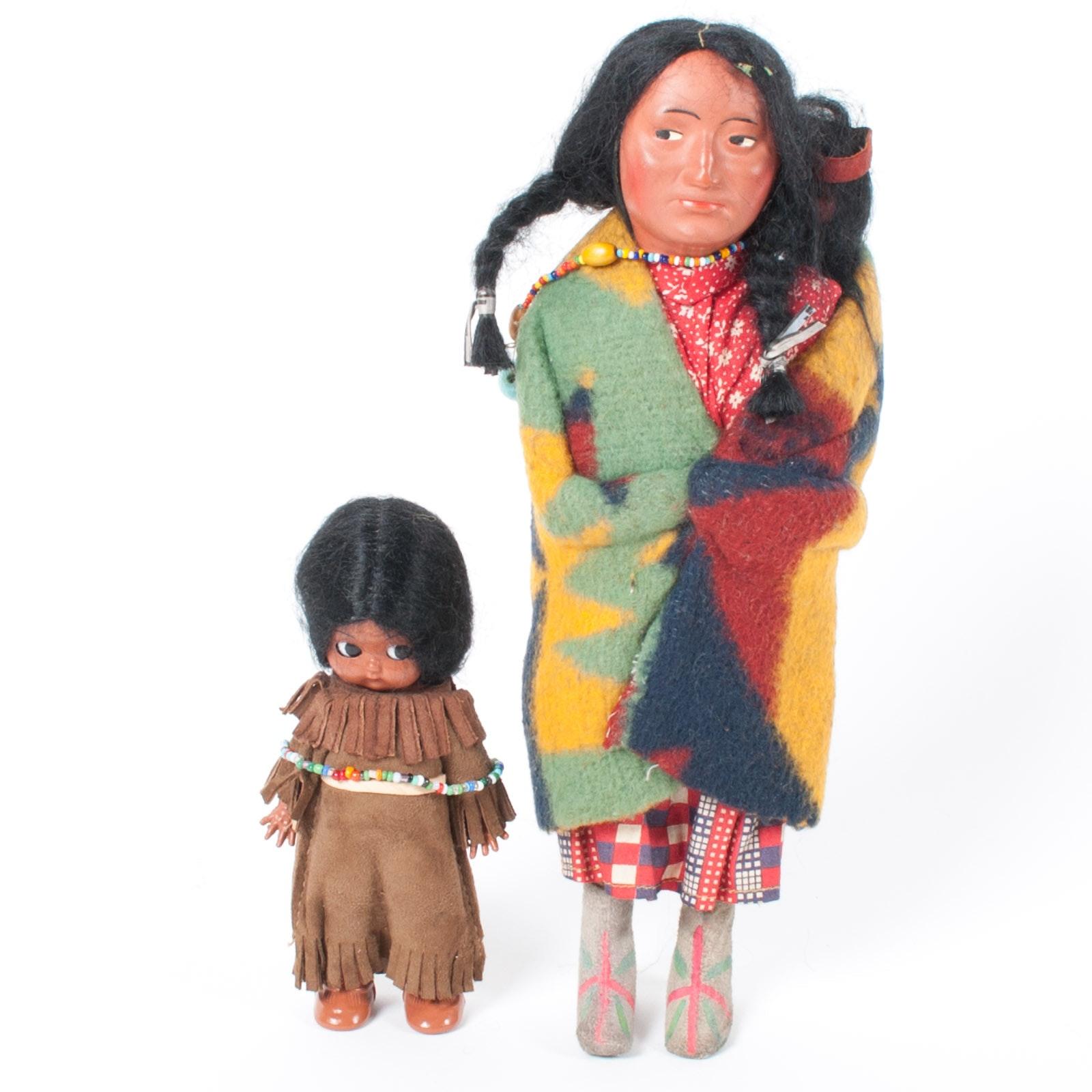 Vintage Skookum Native American Style Doll Including