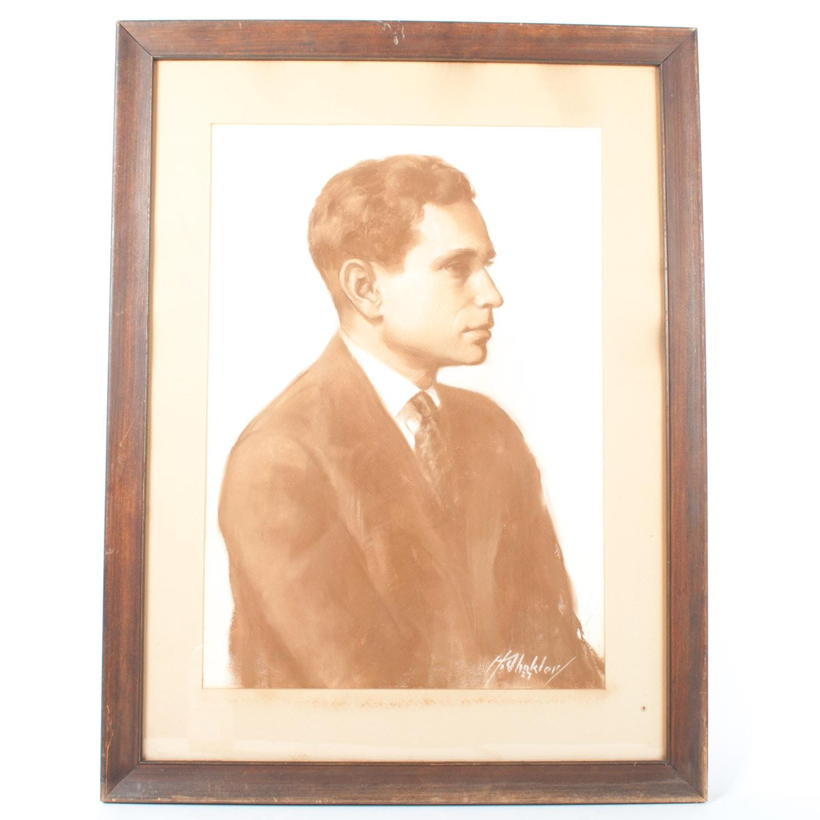Harry Shokler 1927 Pastel on Paper Sepia Portrait of Man