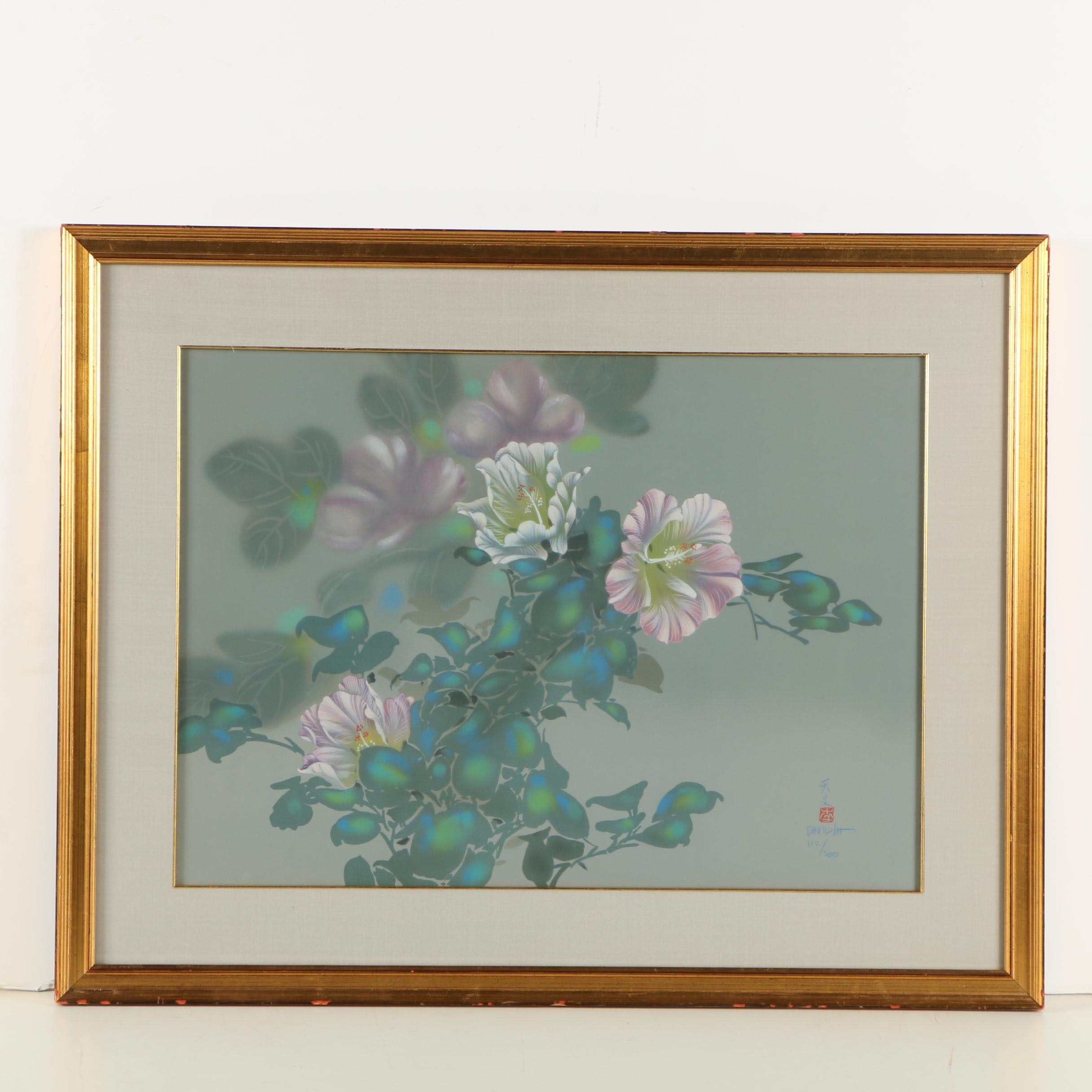 "David Lee Circa 1980s Lithograph of Hibiscus Flowers ""Lavender Light"""