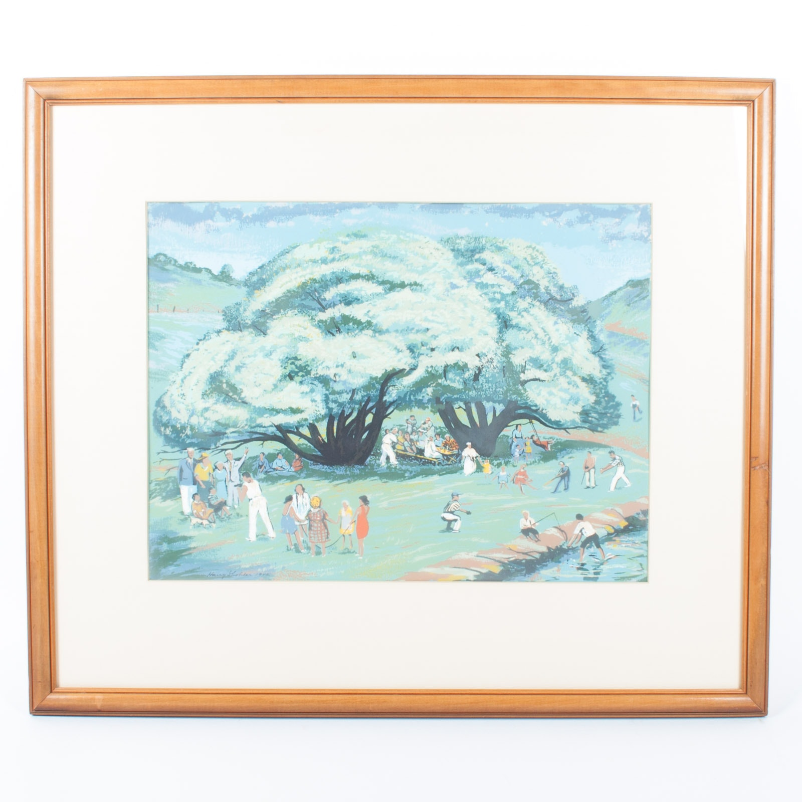 Harry Shokler 1942 Acrylic Painting on Paper of a Summer Picnic