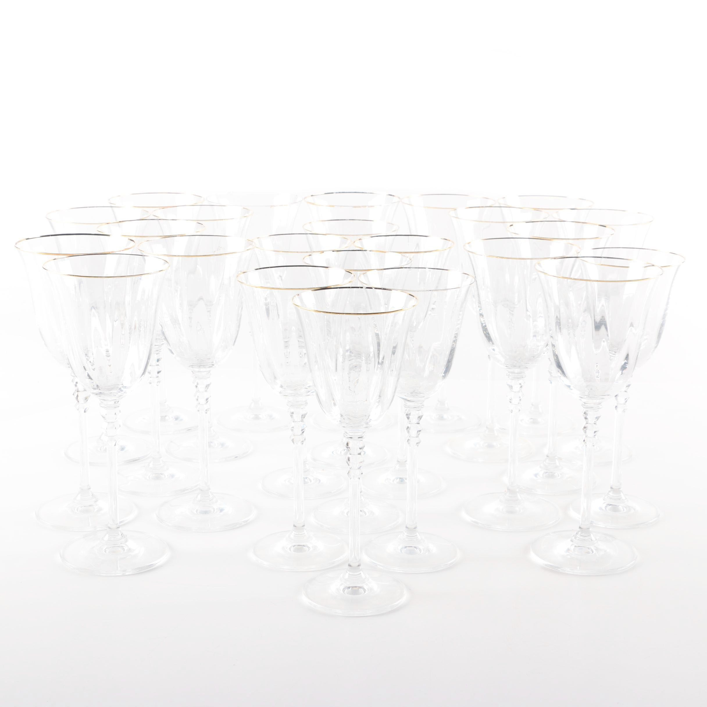 Set of Gilded Crystal Stemware with Optic Bowls