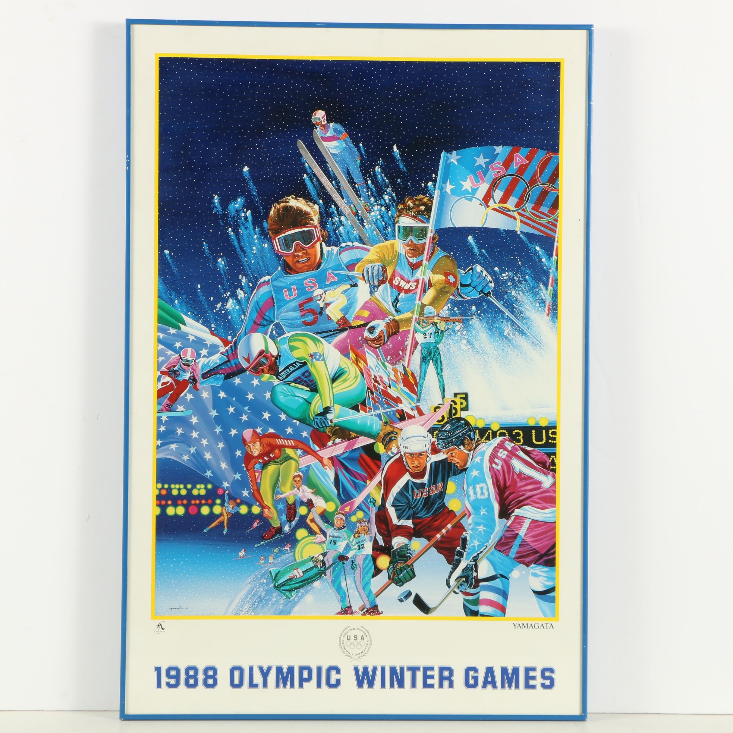 1988 Olympic Winter Games Promotional Offset Lithograph after Hiro Yamagata