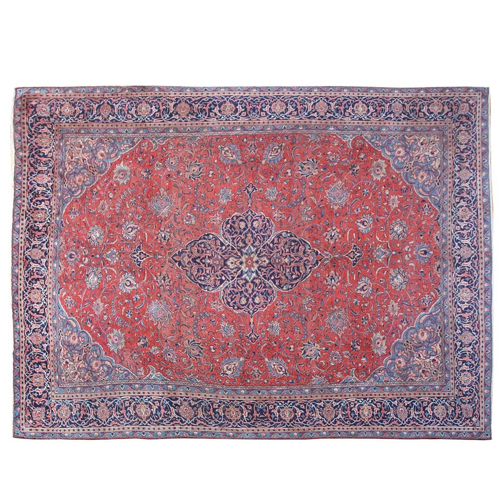 Hand-Knotted Persian Sarouk Wool Area Rug