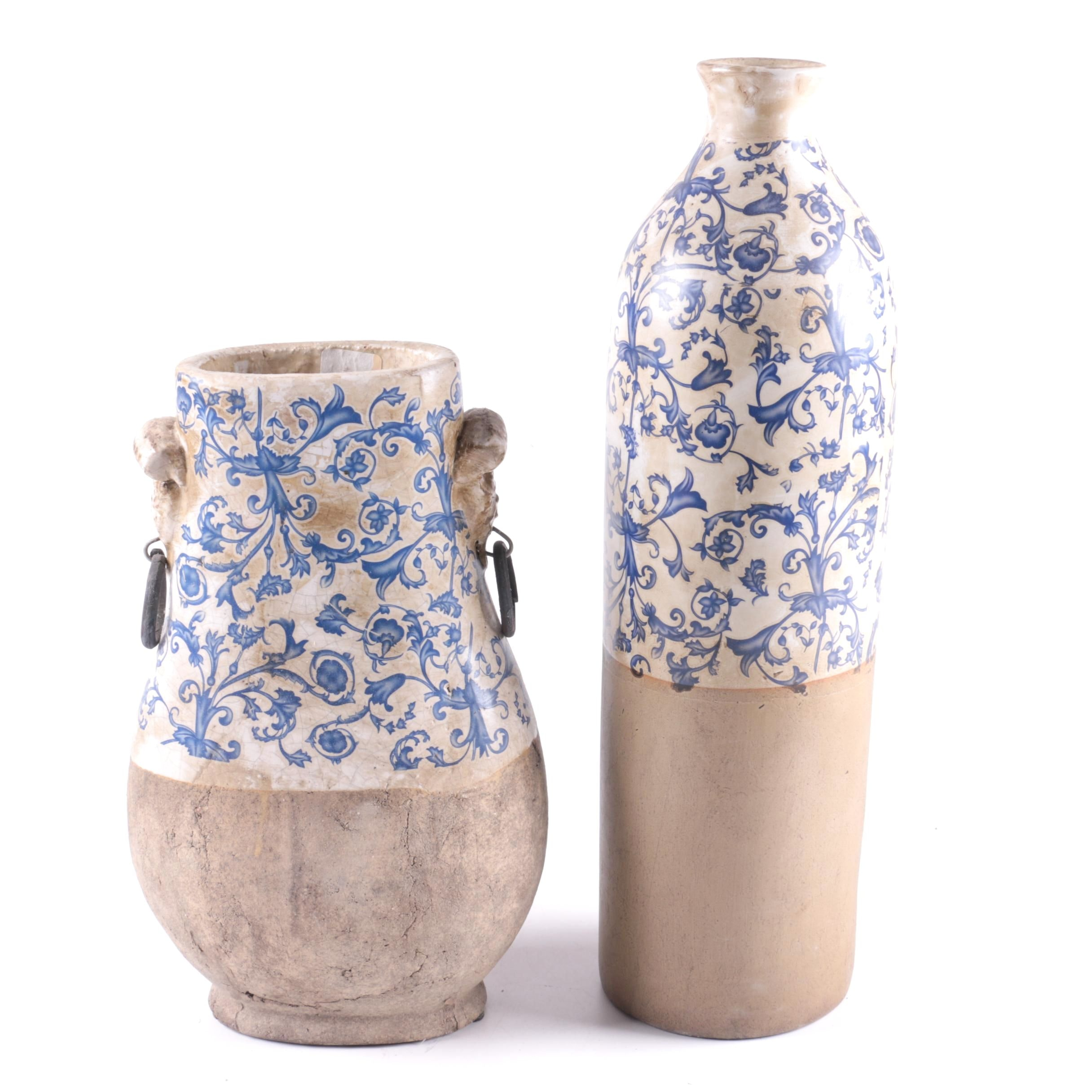 Blue and White Transfer Printed Stoneware Vases