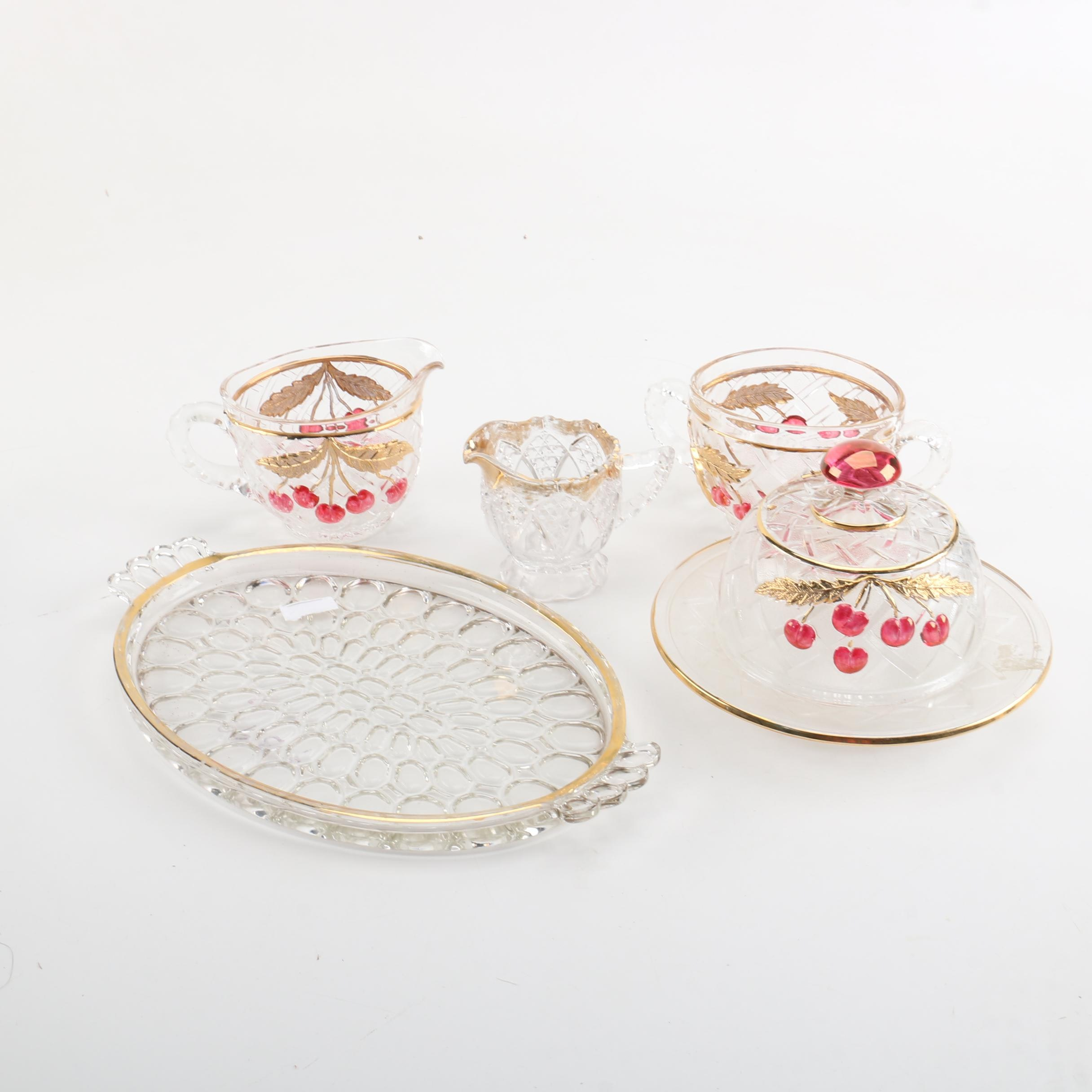 Antique Northwood Cherry and Cable Gilt Glass Serveware