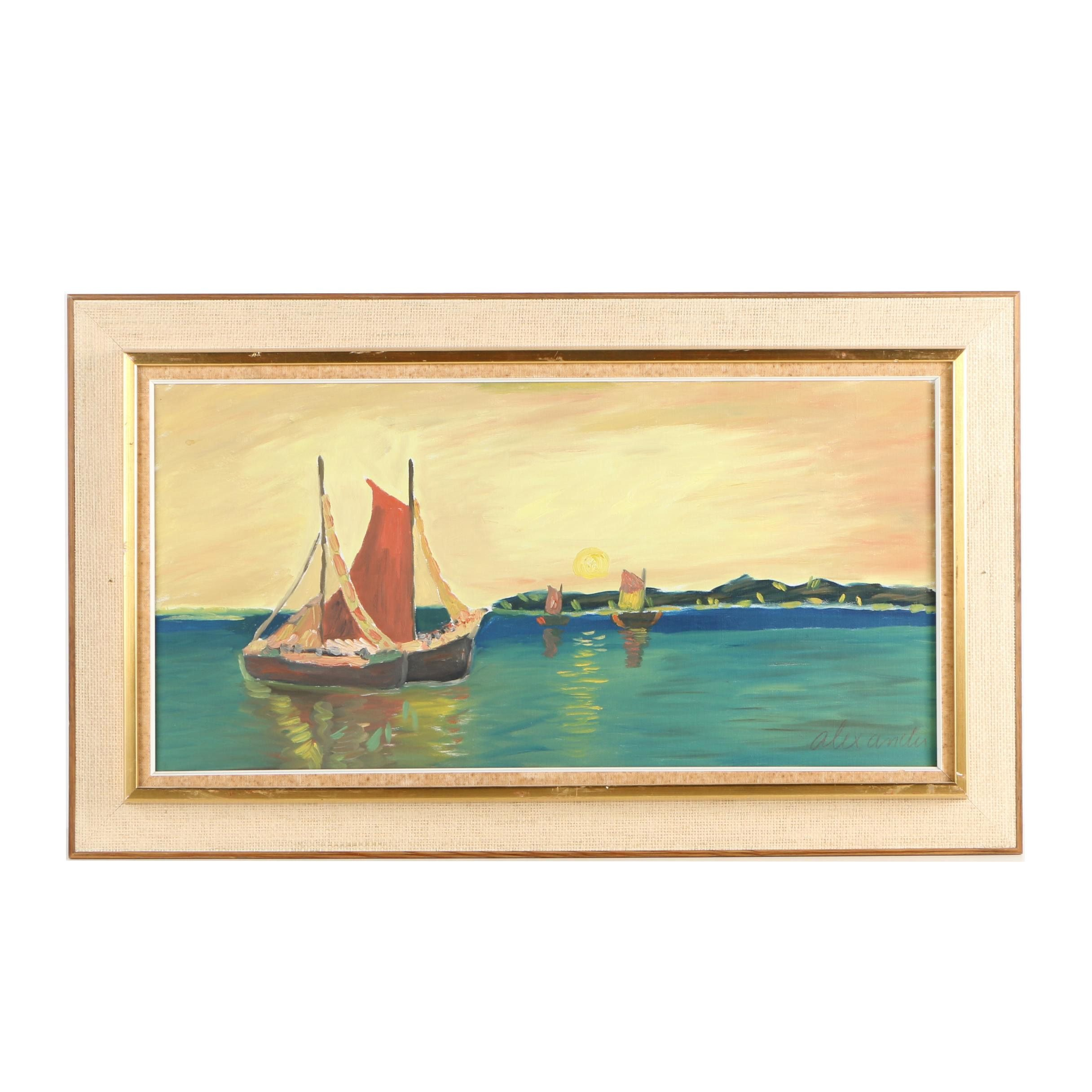 Alexander-Signed Nautical Oil Painting on Canvas