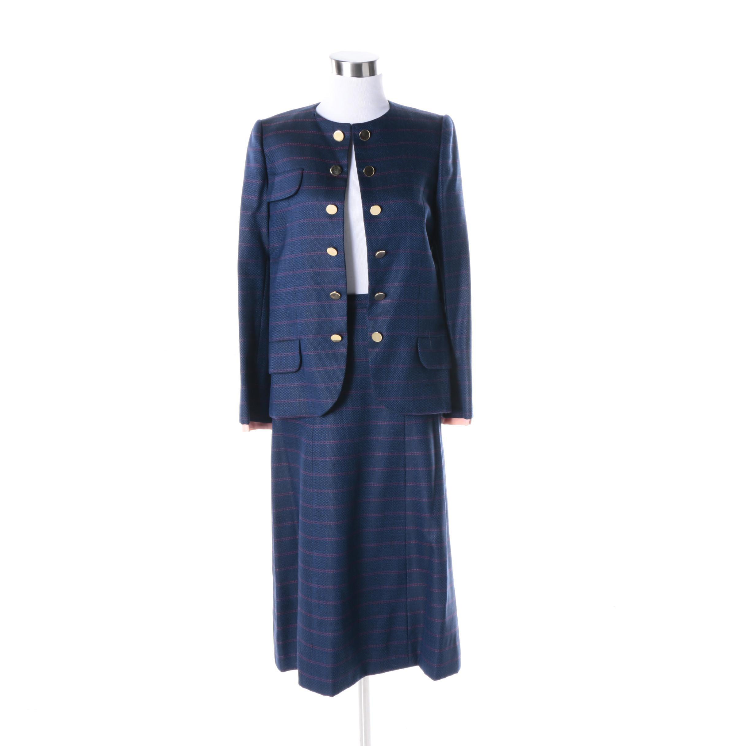 Women's Vintage Cardinali Blue Tweed Skirt Suit