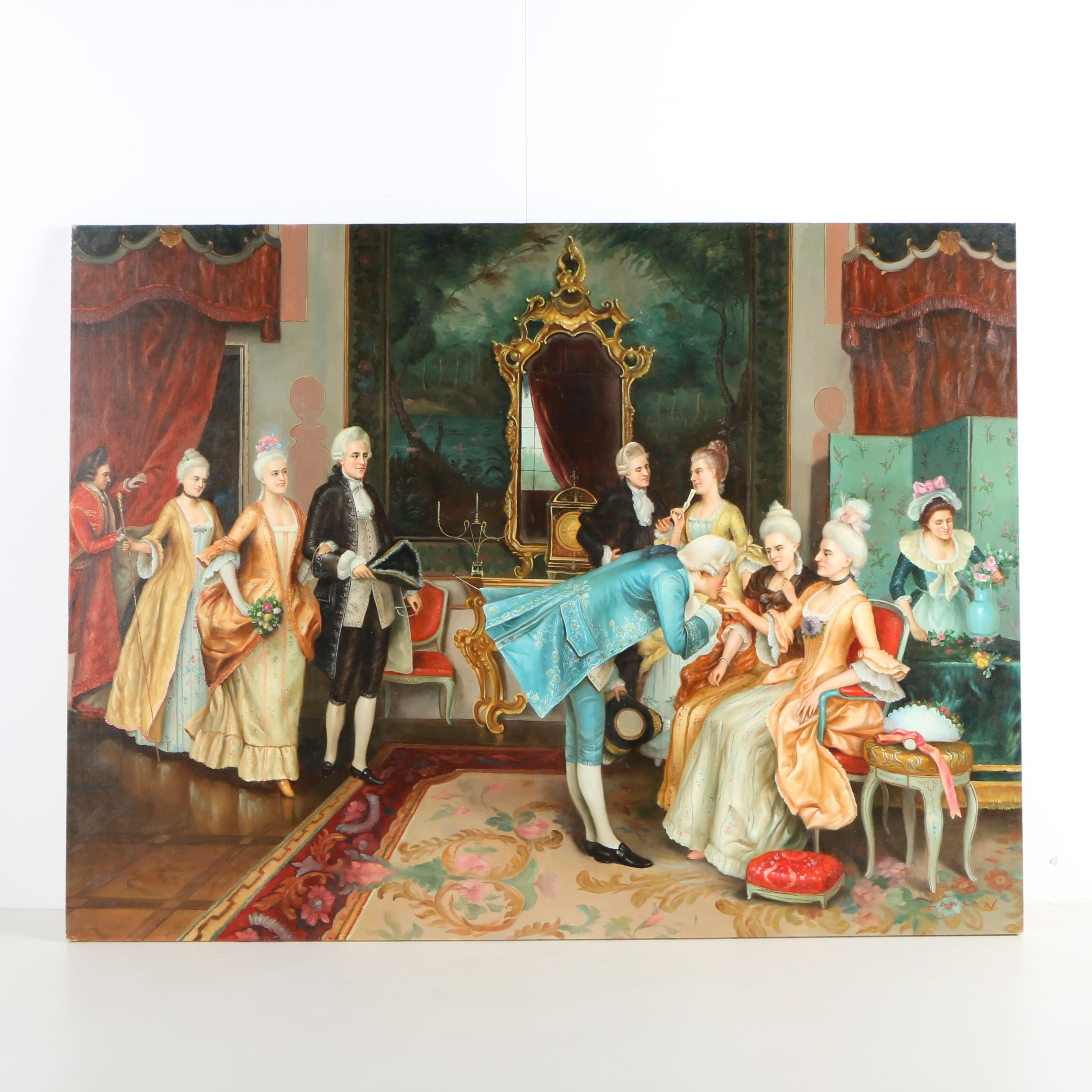 """Oil Painting in the Manner of Arturo Ricci's """"The Reception"""""""