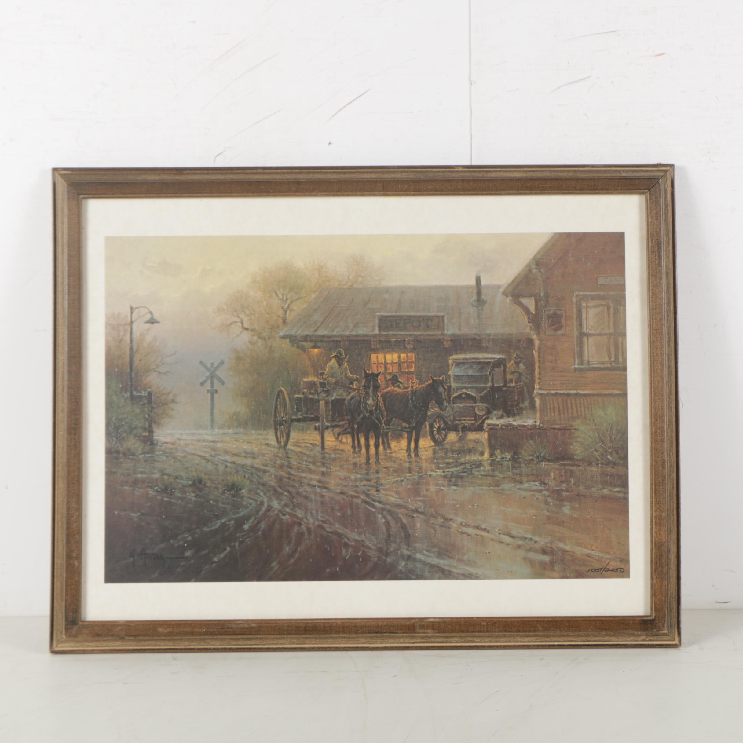 """G. Harvey Limited Edition Offset Lithograph """"The Katy Depot"""""""