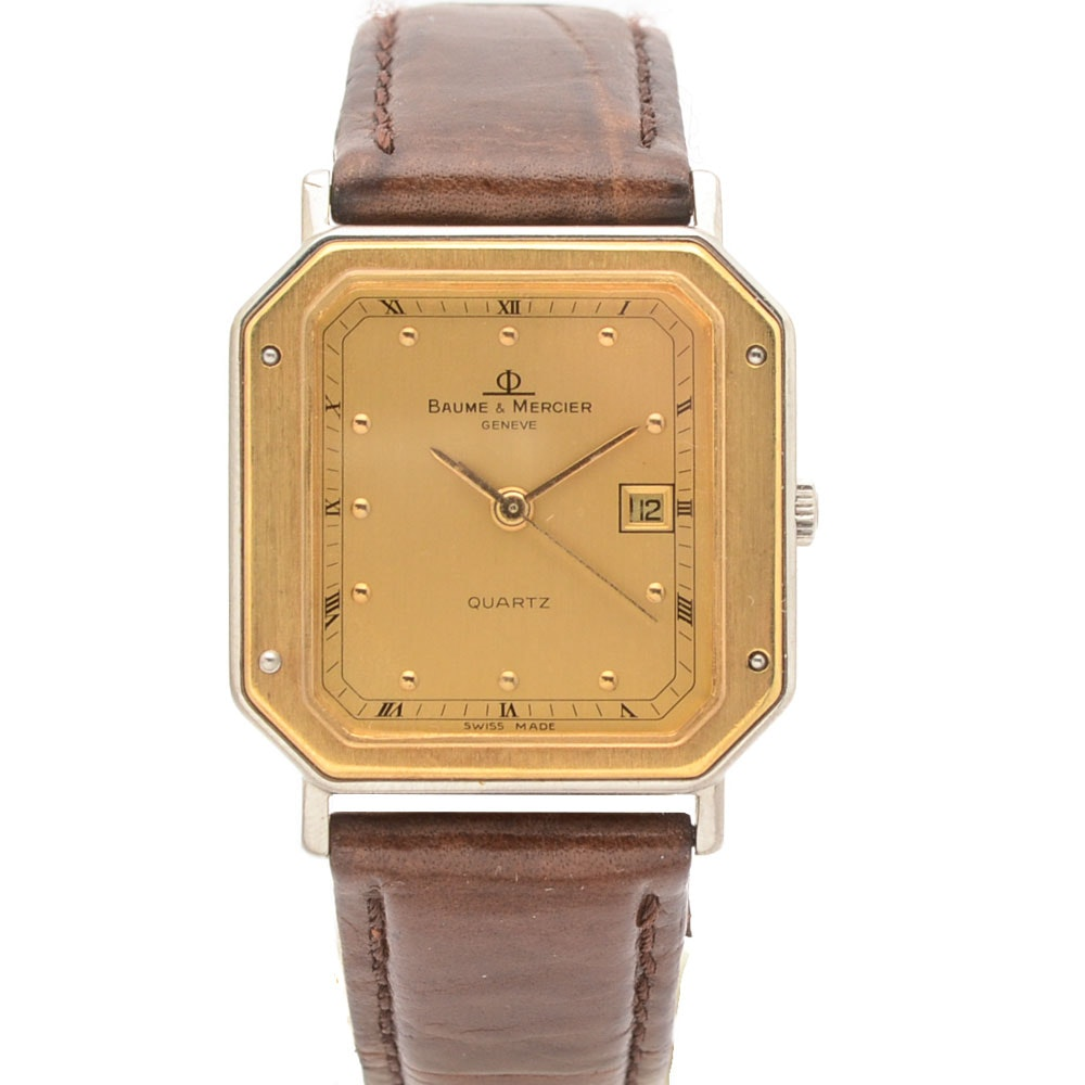 Baume & Mercier Geneve 1830 18K Gold and Steel Champagne Quartz Watch