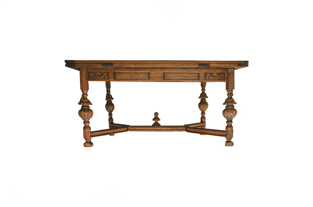 Vintage Jacobean Revival Oak Table