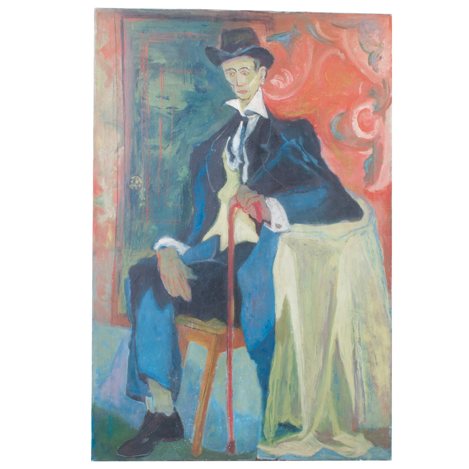 Acrylic on Canvas Abstract Portrait of Sitting Man in Hat