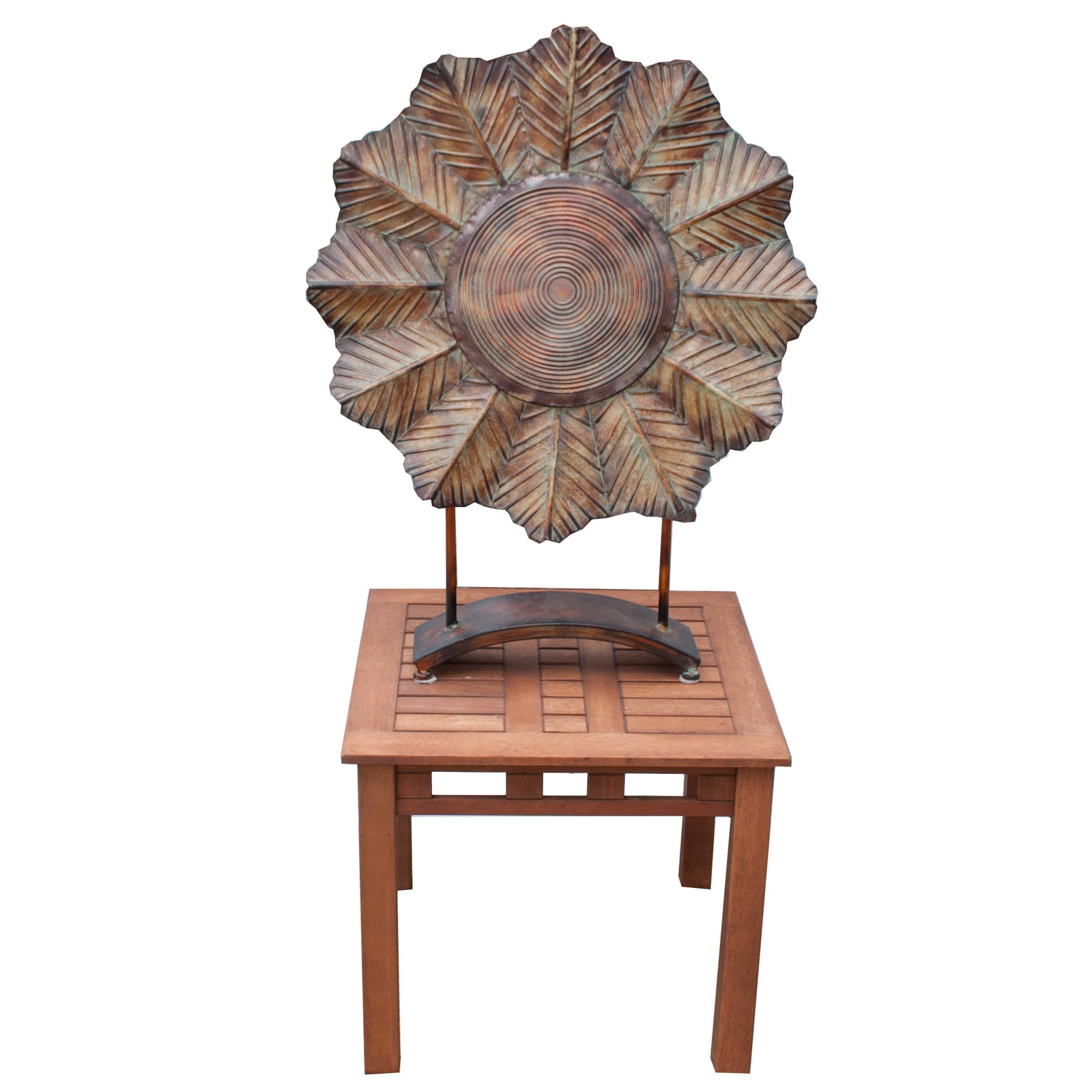 Teak Wood Side Table and Metal Sculpture