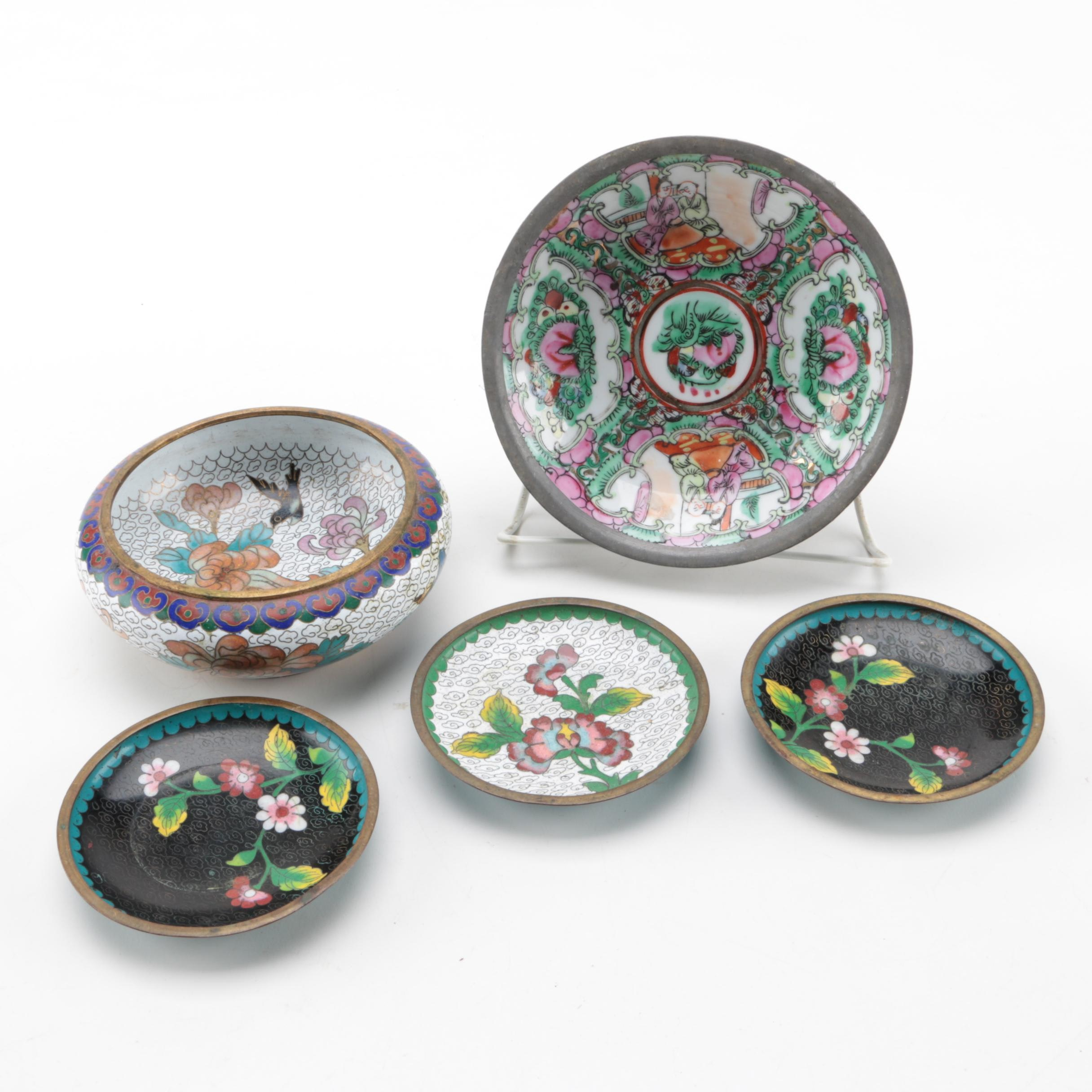 Chinese Cloisonné Dishes and Rose Canton Porcelain Bowl