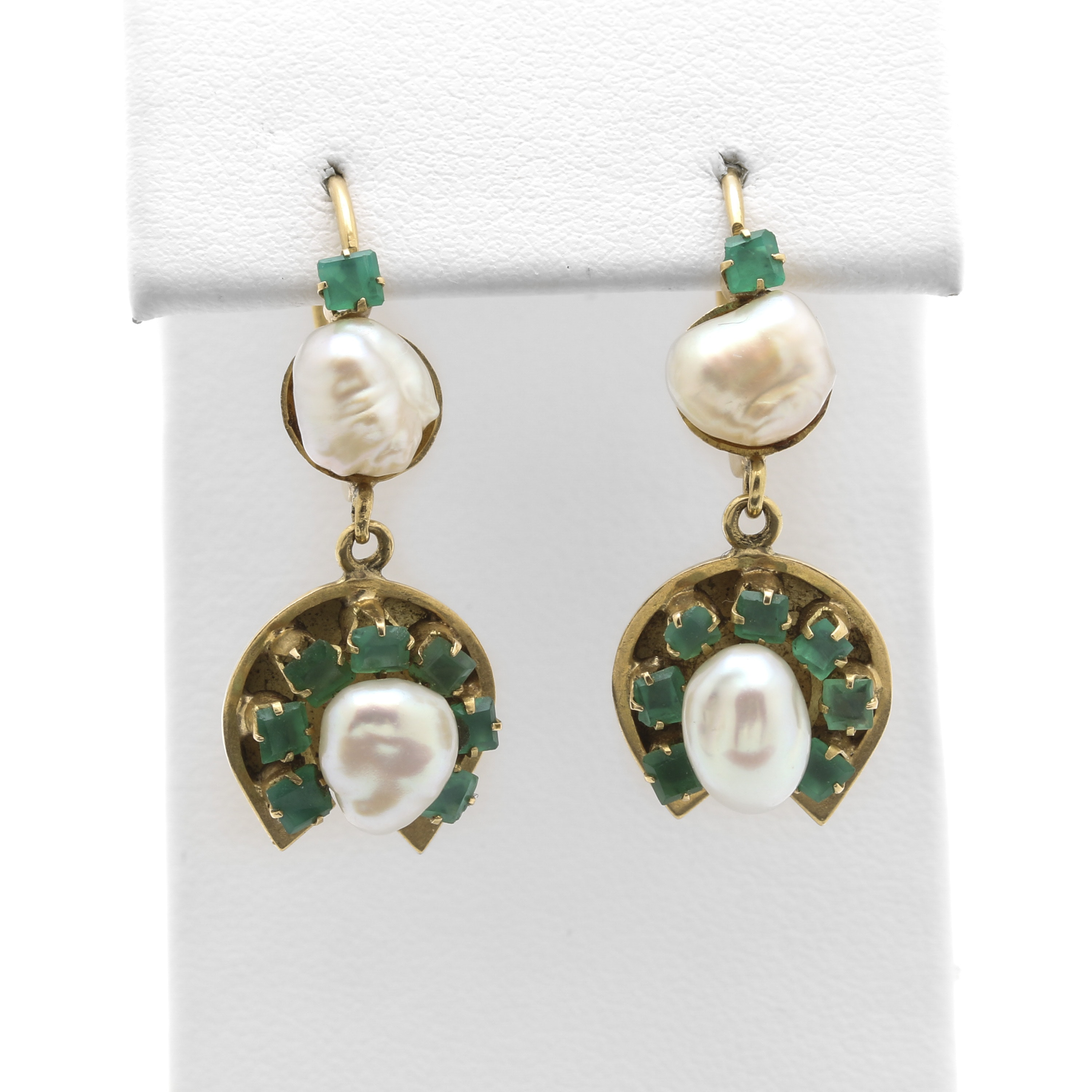 18K Yellow Gold Cultured Pearl and Chalcedony Earrings