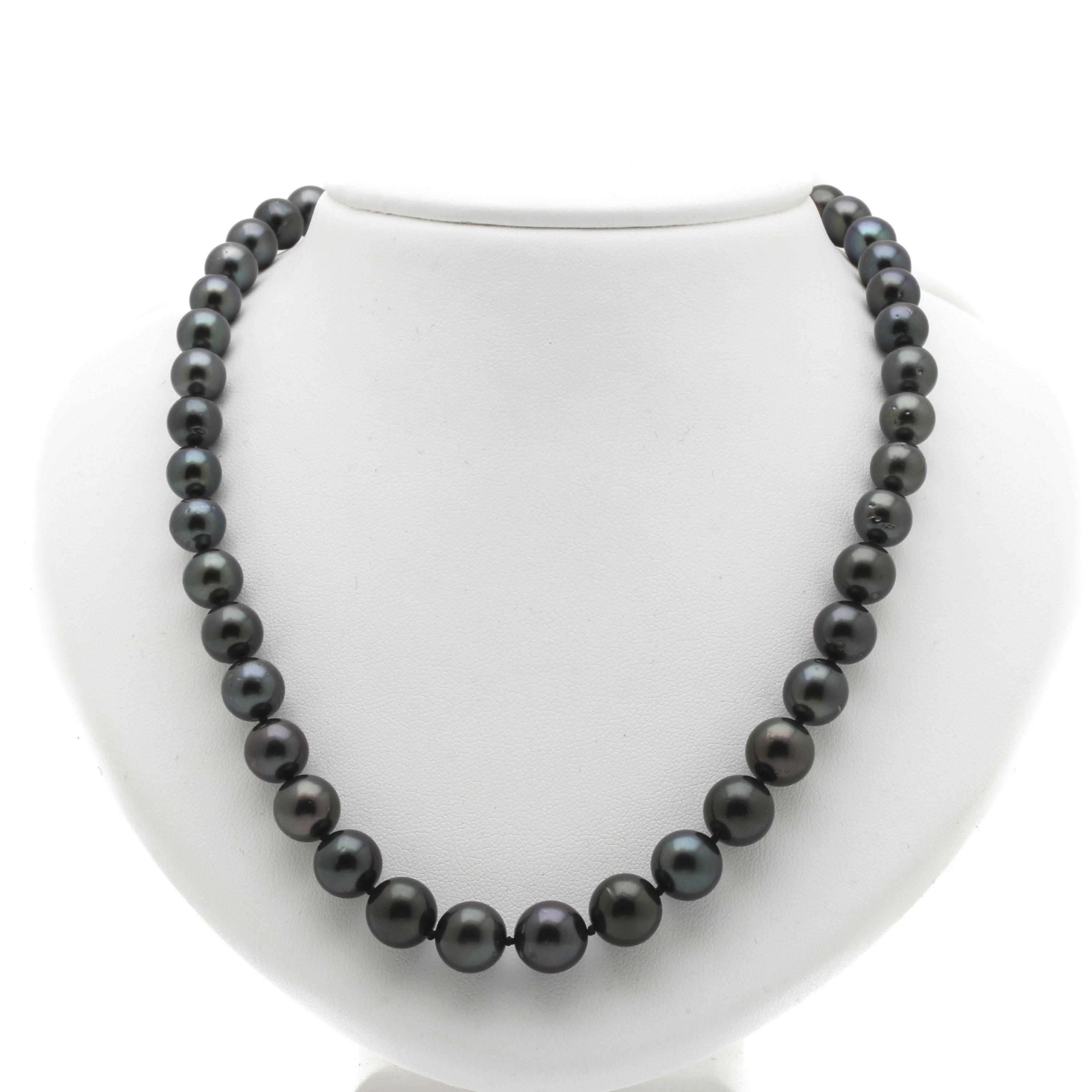 18K White Gold Cultured Tahitian Pearl and Diamond Necklace