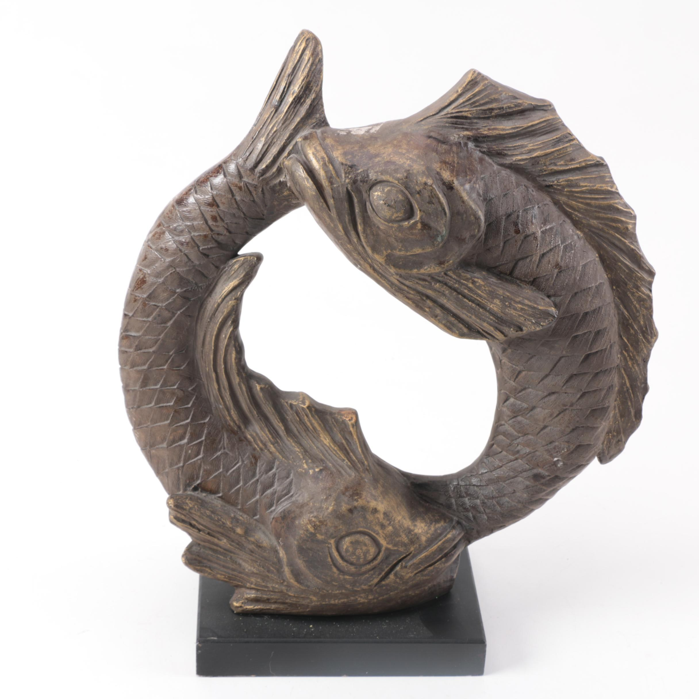 Reproduction David Fisher Plaster Pisces Fish Sculpture