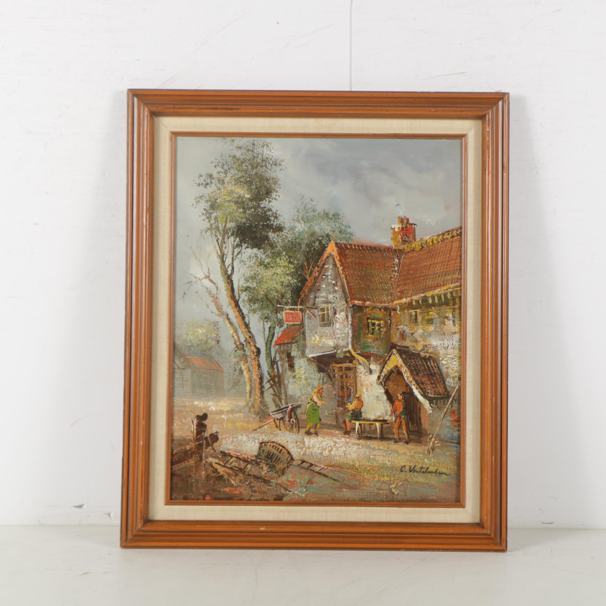 Oil Painting on Canvas of a Village Scene