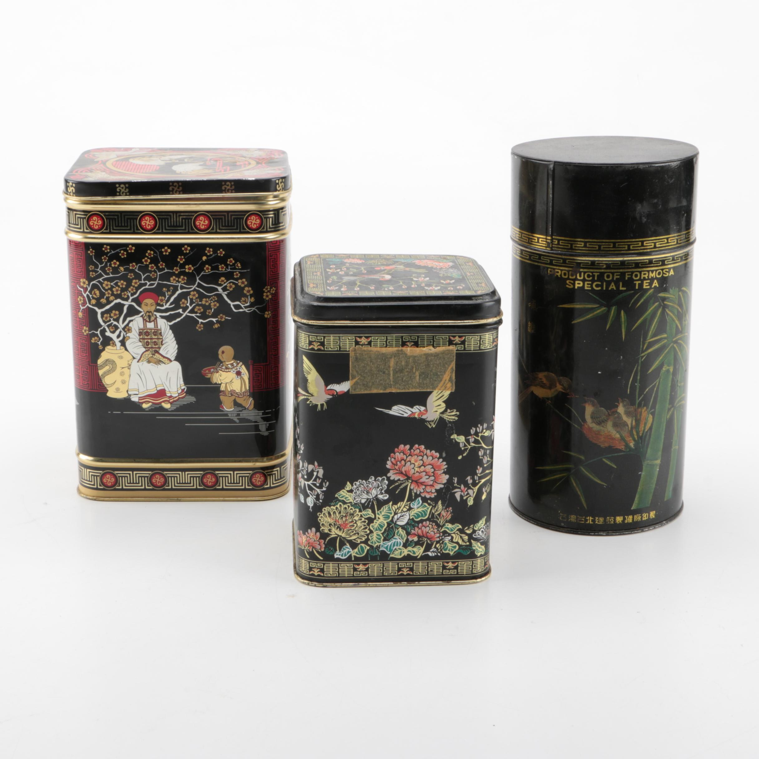 Japanese Metal Tea Tins
