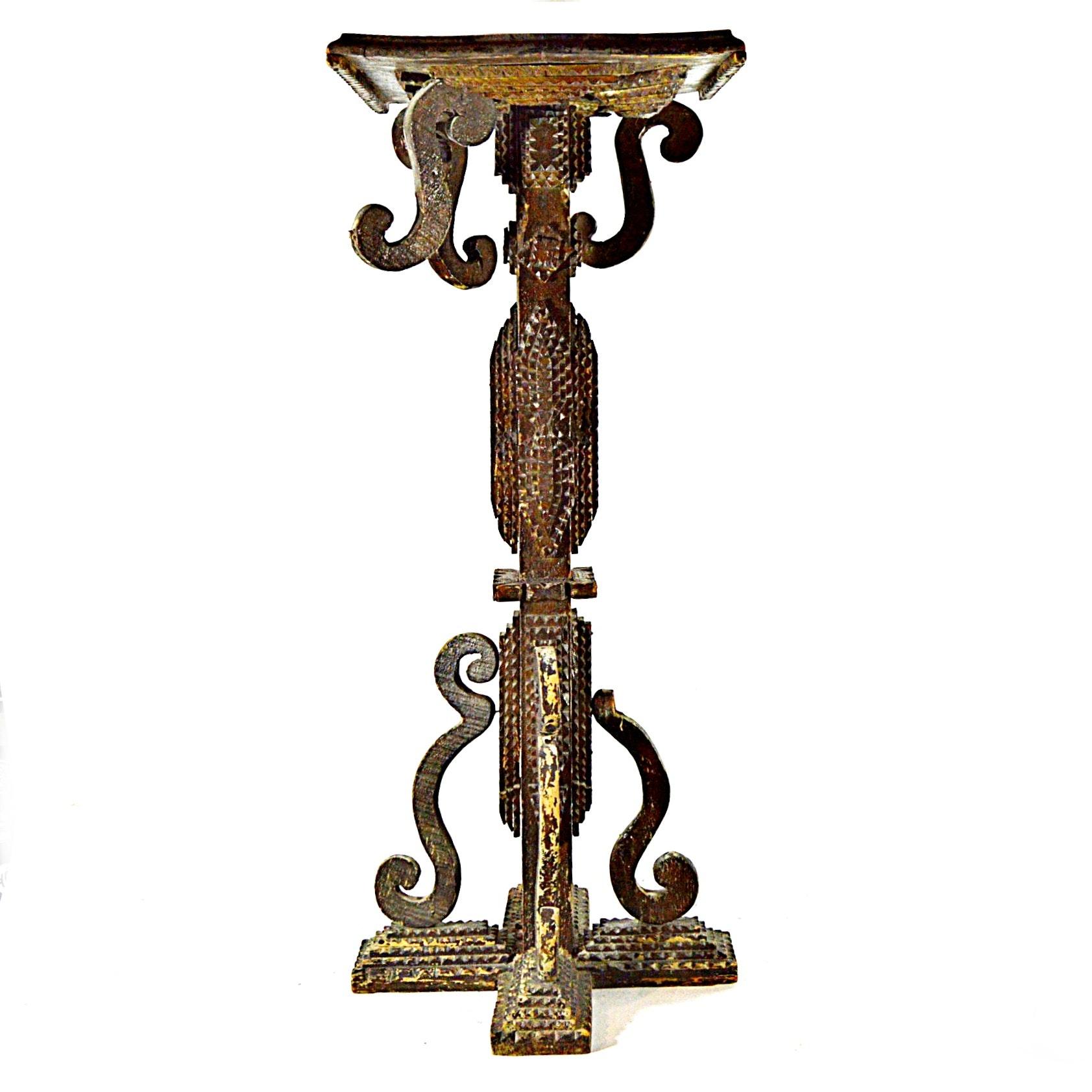 Vintage Tramp/Folk Art Pedestal