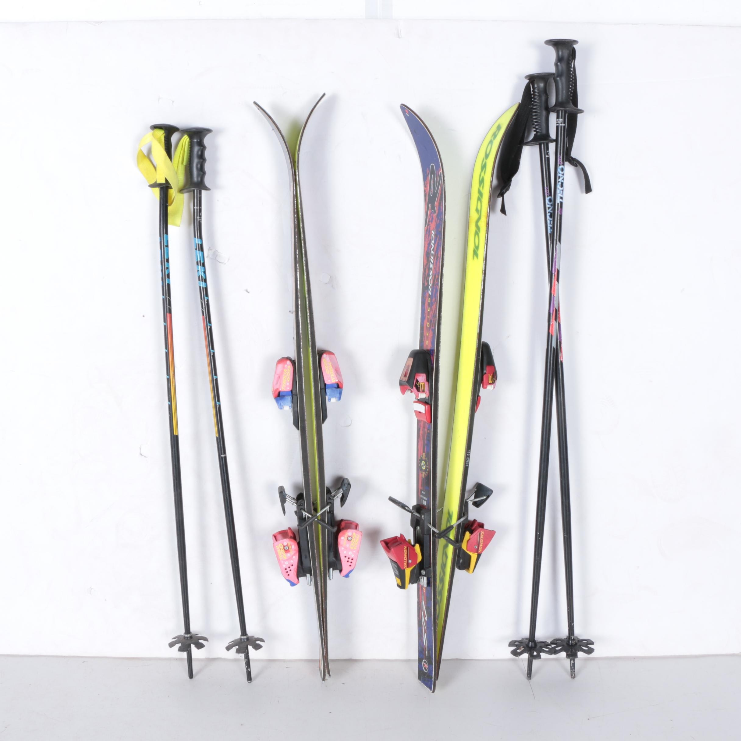 Rossignol and Elan Children's Skis with Poles