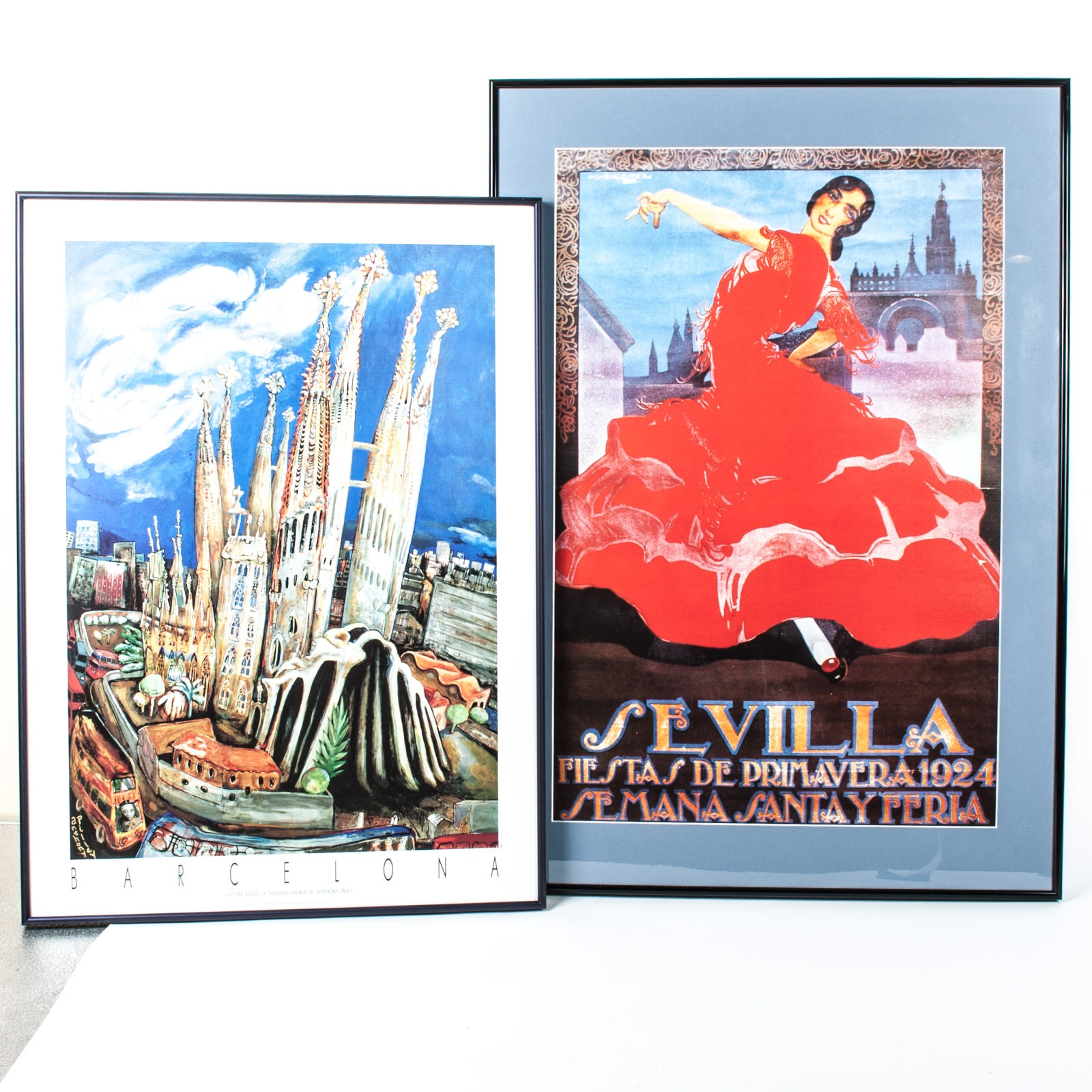 Large Framed Offset Lithograph on Paper Posters of Spain