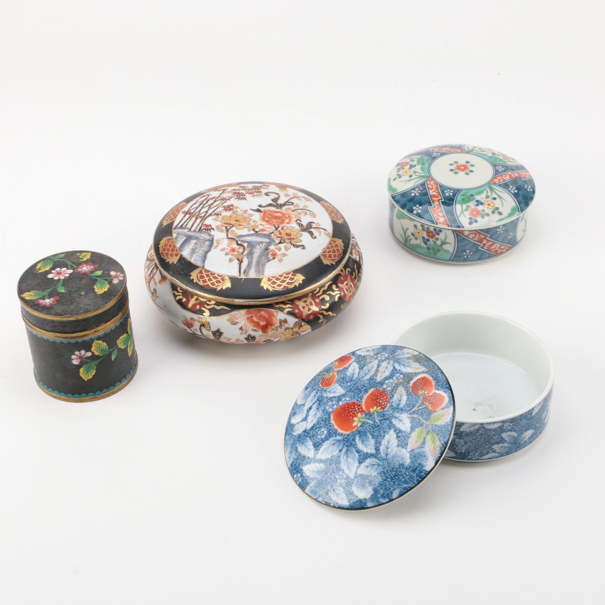 Enameled Brass Trinket Box and Assorted Porcelain Trinket Boxes