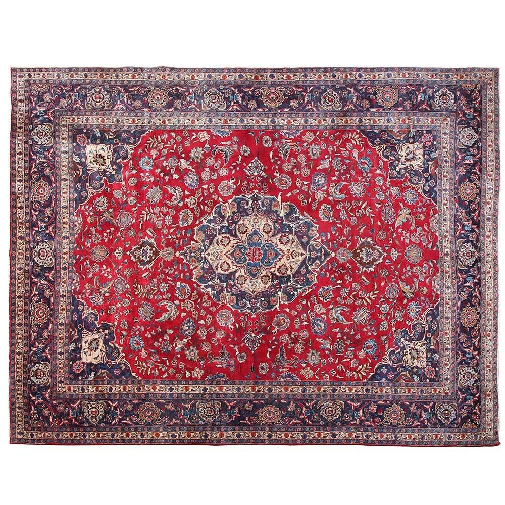 Hand-Knotted Mashhad Wool Area Rug