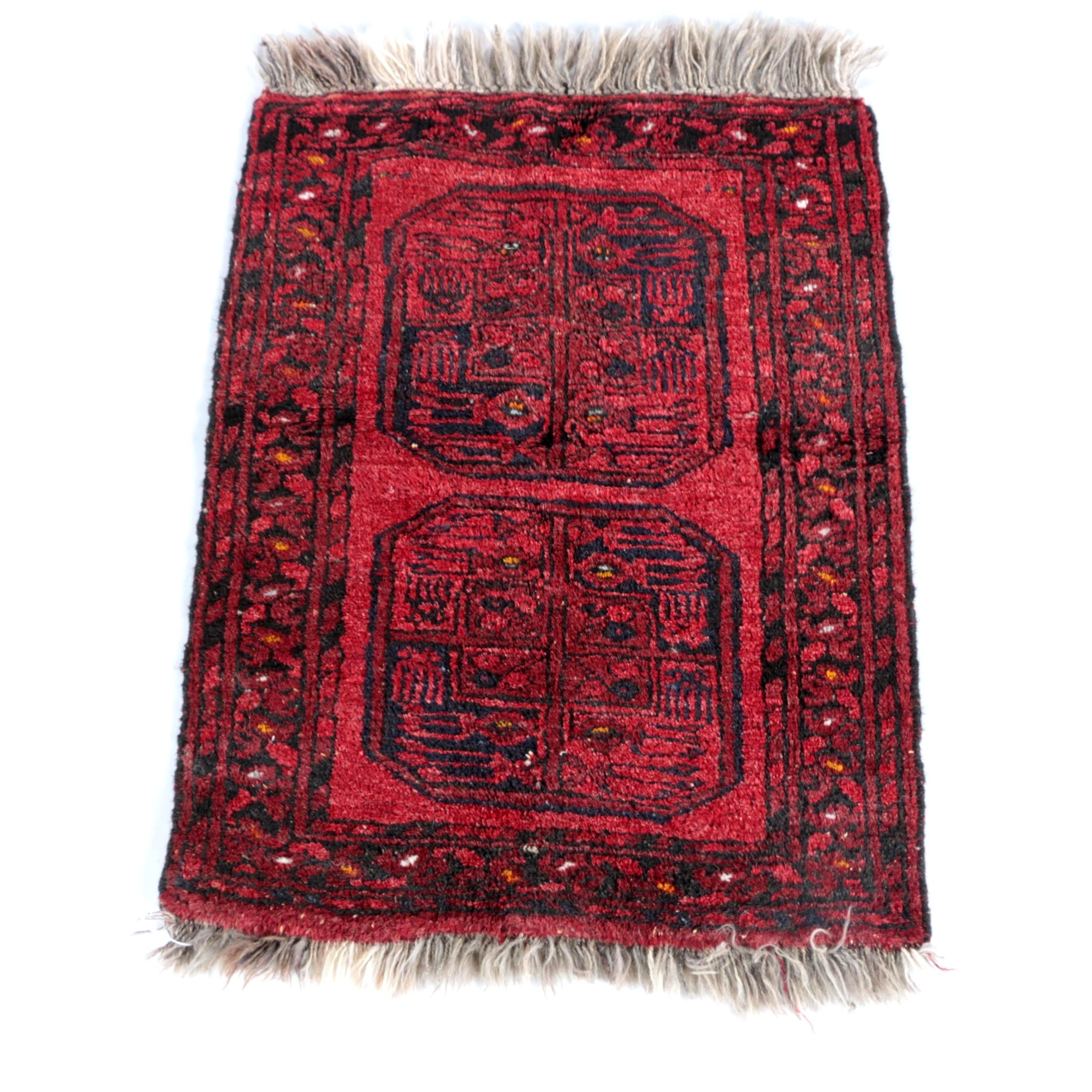 Semi-Antique Hand-Knotted Turkmen Ersari Wool Accent Rug