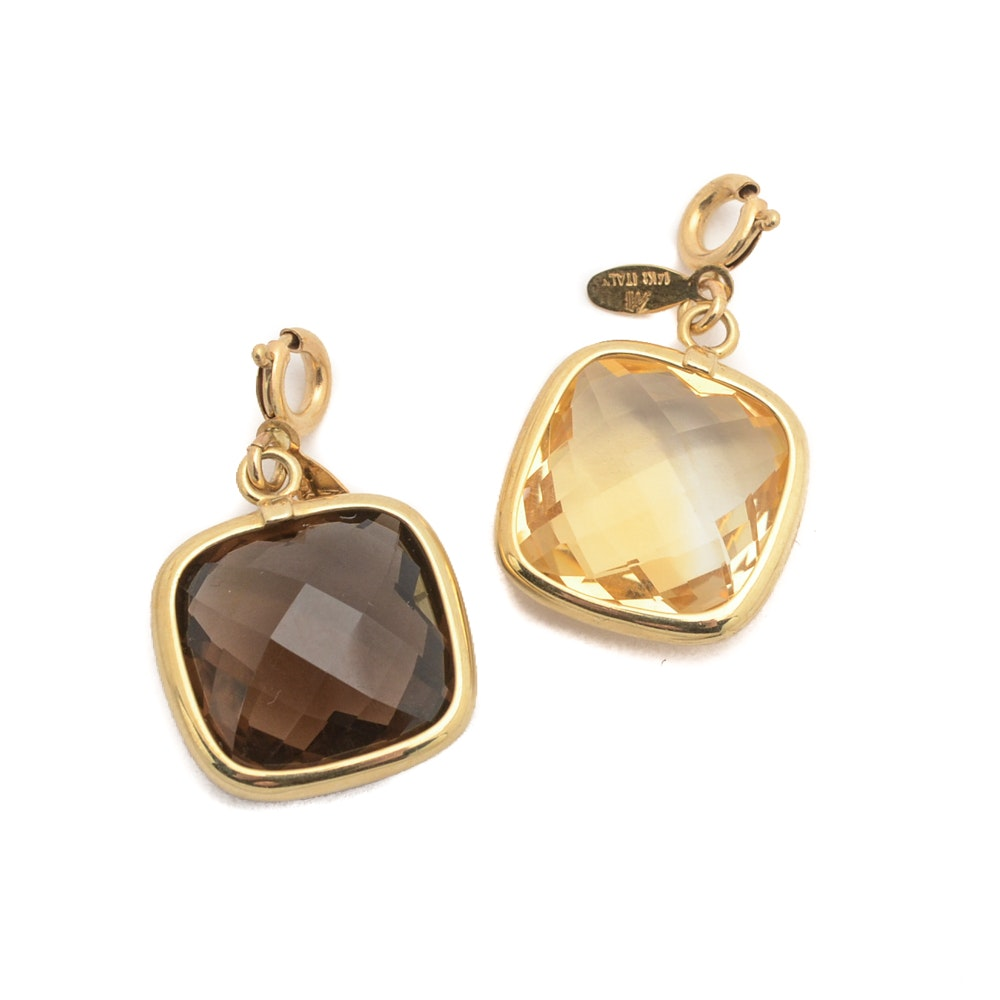 14K Yellow Gold Pendants From Italy with Citrine and Smoky Quartz