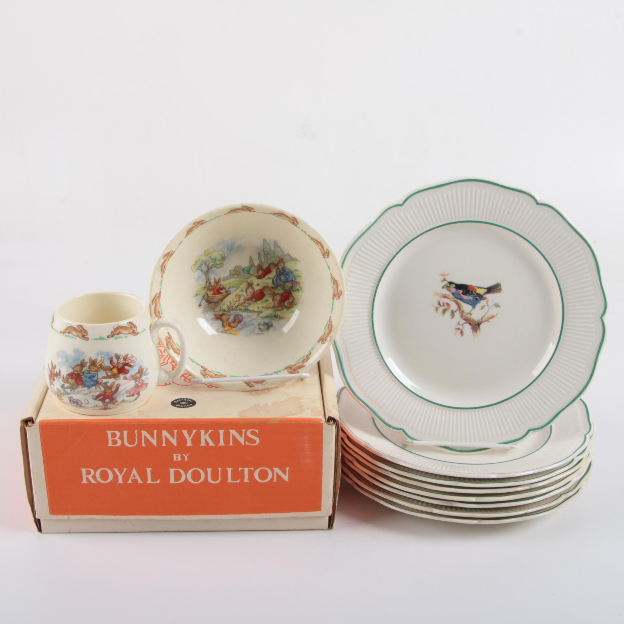 "Royal Doulton Porcelain Bird Dinner Plates with ""Bunnykins"" Tableware Set"