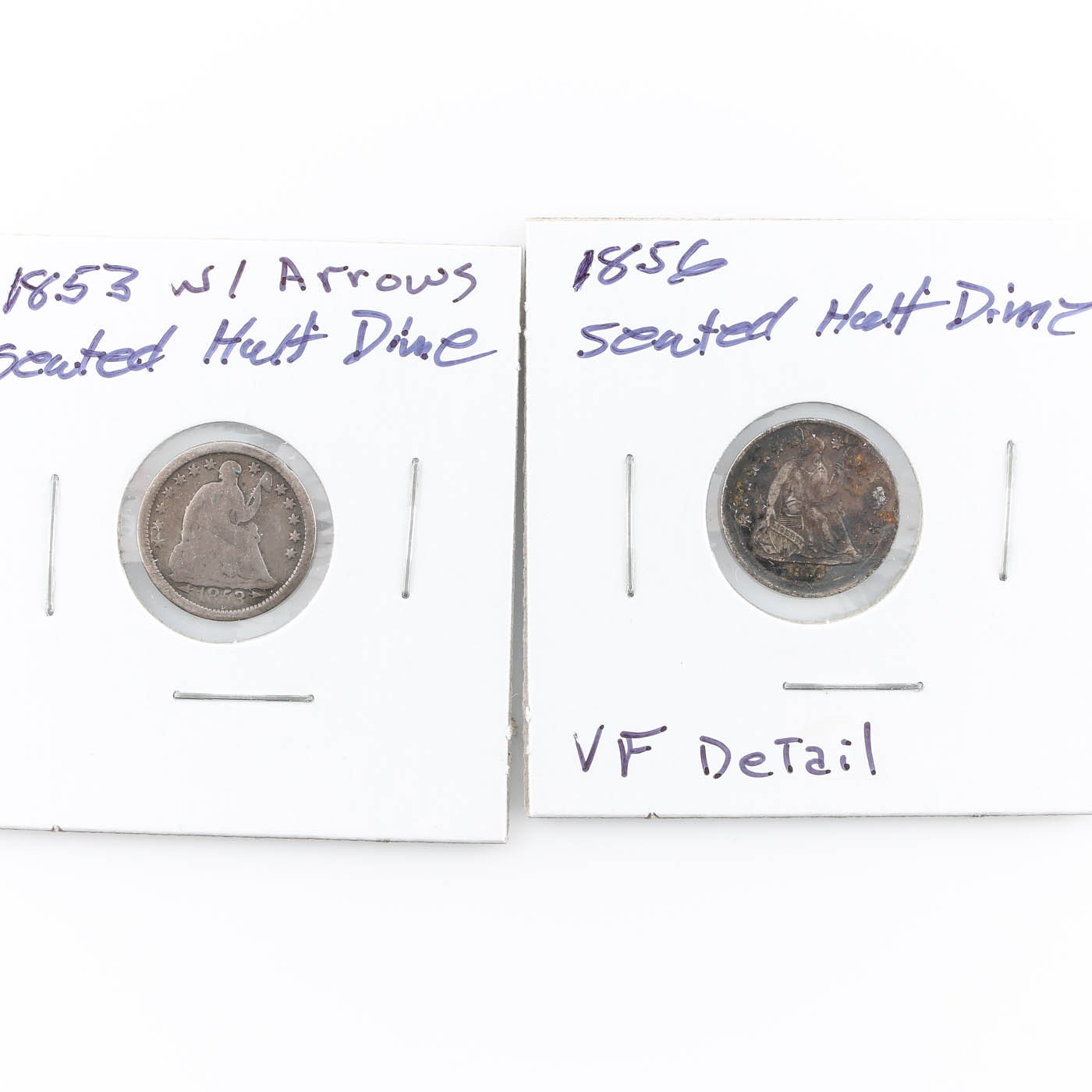Group of Two two Seated Liberty Silver Half Dimes