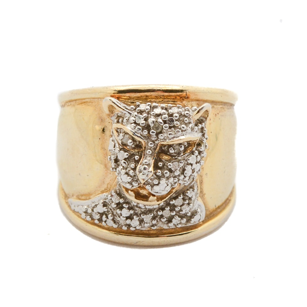 Sterling Silver Gold Tone Diamond Leopard Ring
