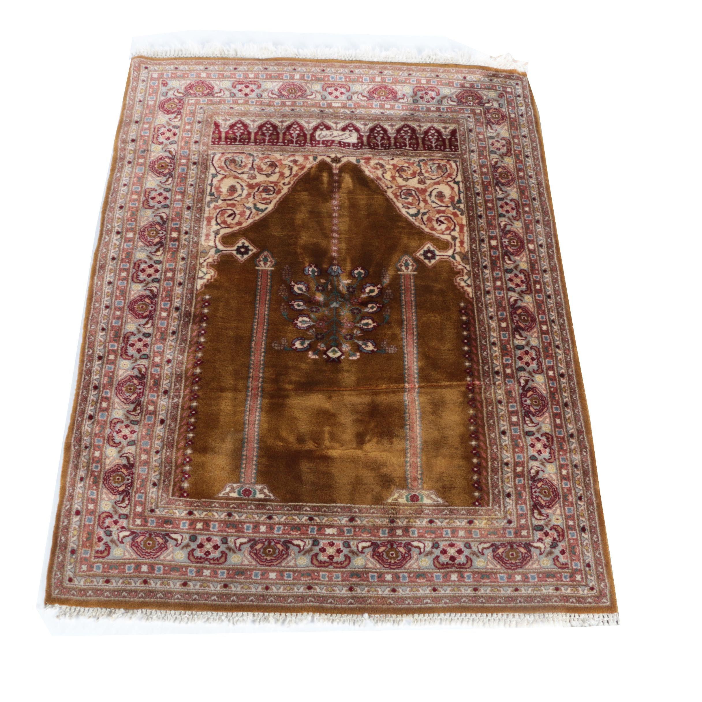 Hand-Knotted Turkish Ghiordes Prayer Rug