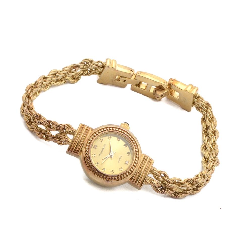 Technibond Quartz Wristwatch With Gold Washed Sterling Silver Bracelet