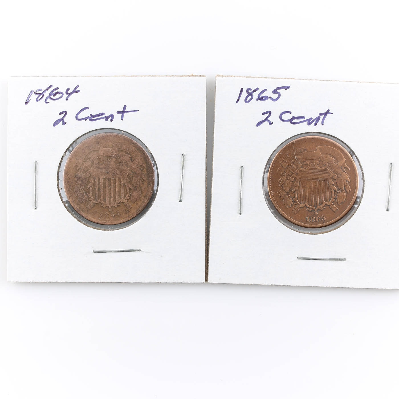 Group of 2 Two-Cent Coins Including an 1864 and 1865