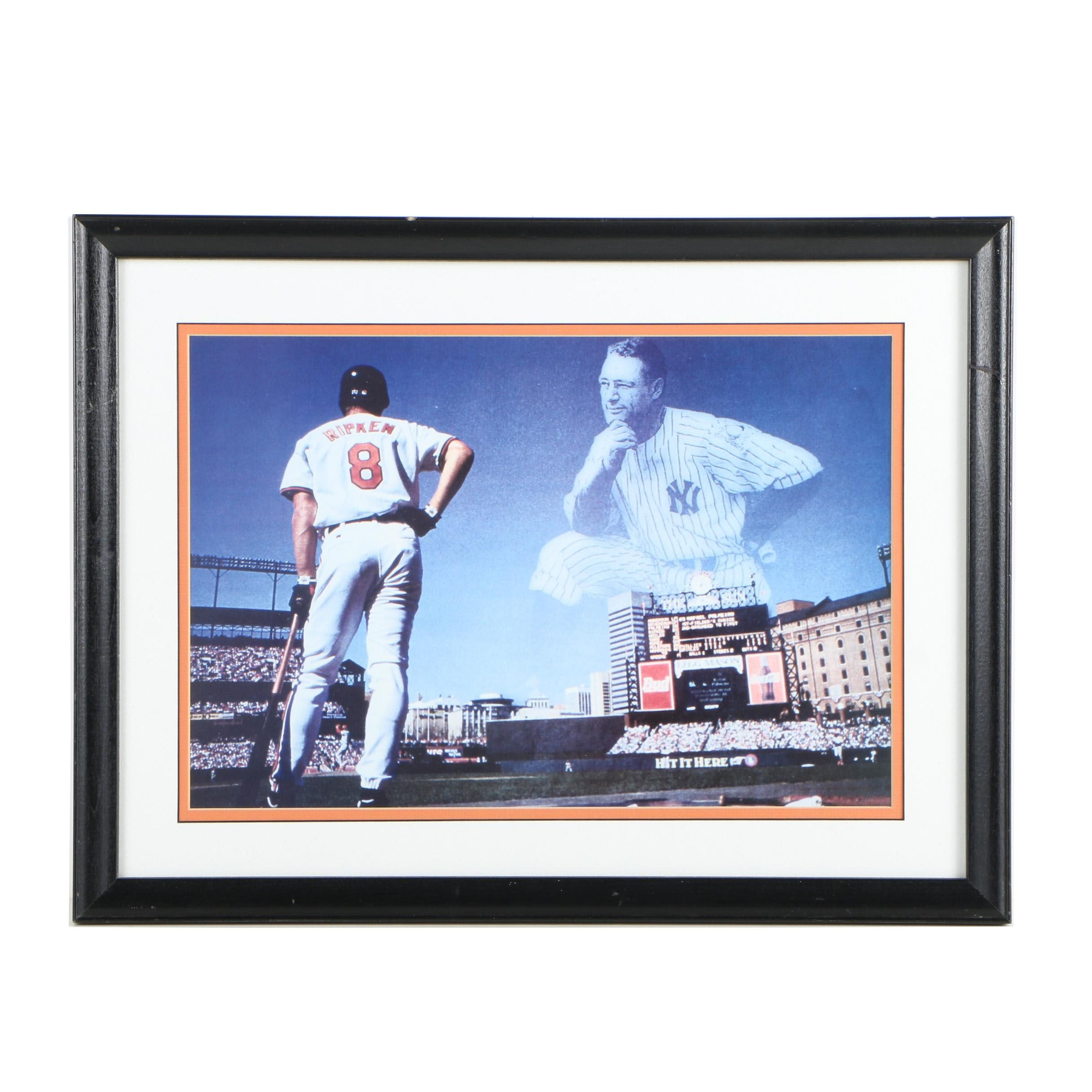 Offset Lithograph of Cal Ripken Jr. and Lou Gehrig