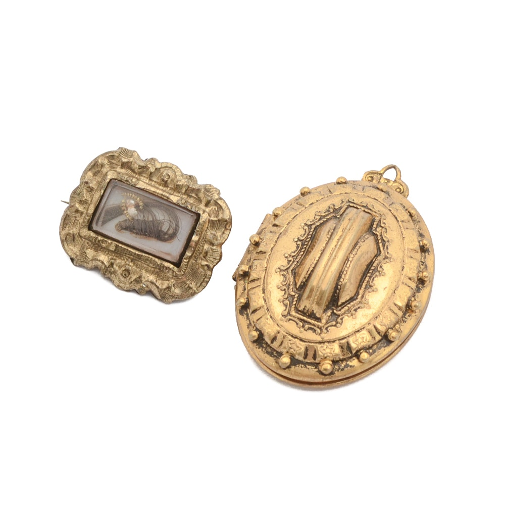Victorian Mourning Brooch and Locket