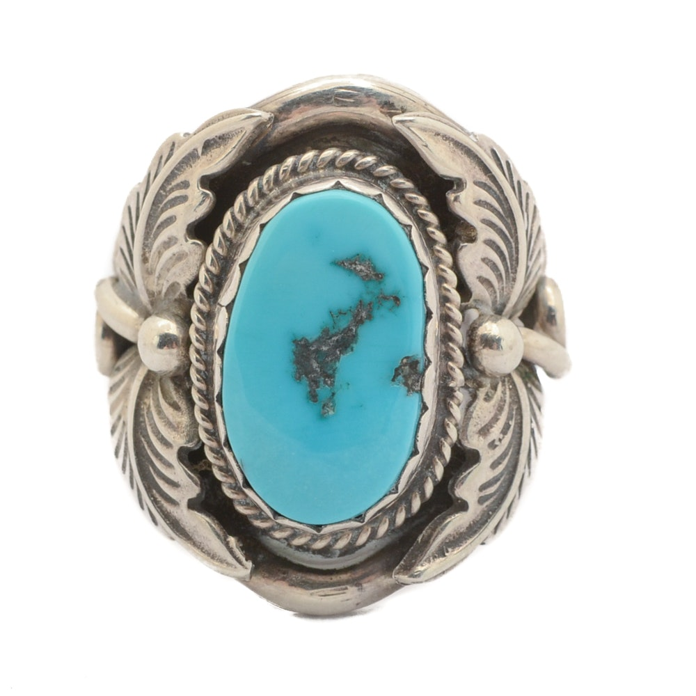 Benjamin Piaso Signed Navajo Diné Sterling Silver Turquoise Ring