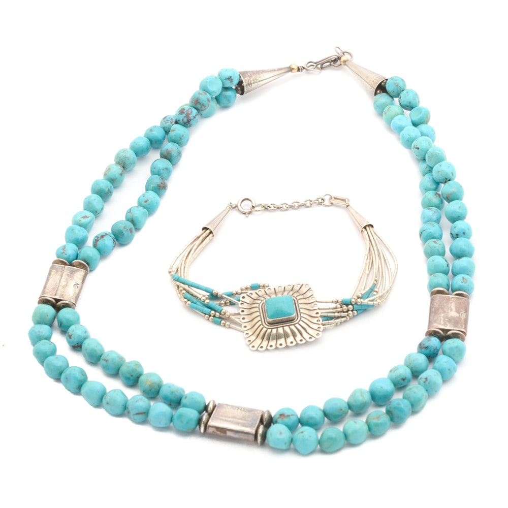 Sterling Silver and Turquoise Necklace and Bracelet