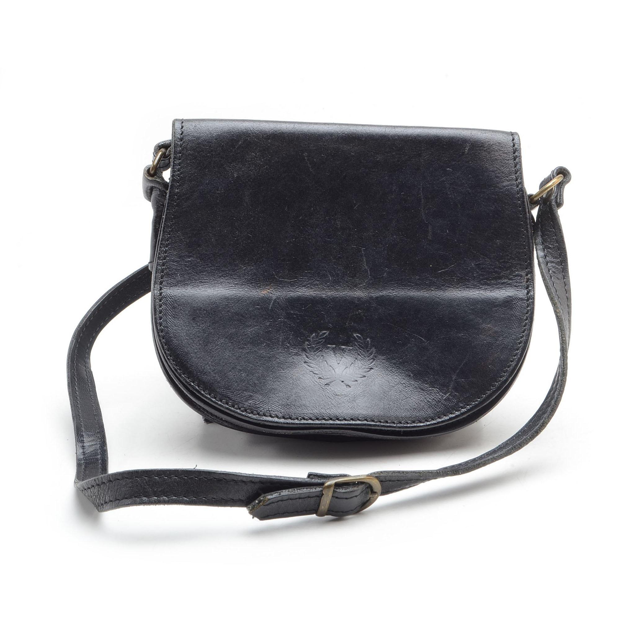 Vintage Italian Black Leather Handbag