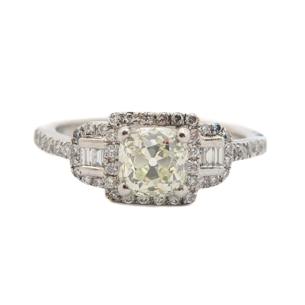 Platinum 1.21 CTW Diamond Ring with Art Deco Styling
