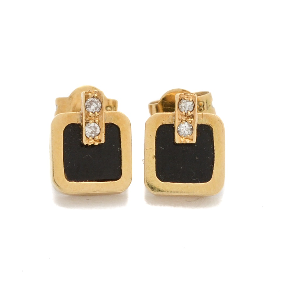 18K Gold Black Onyx and Diamond Earrings