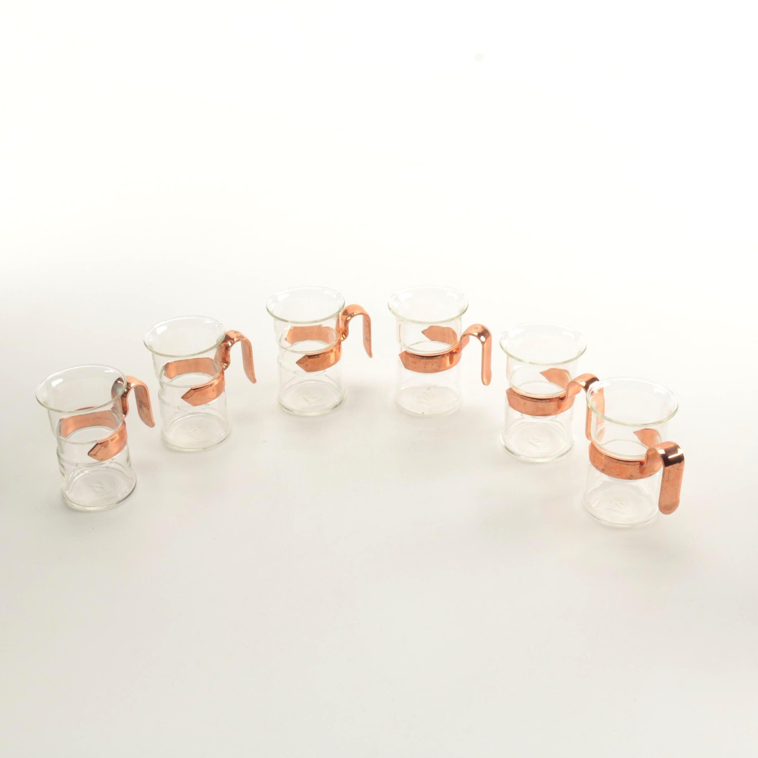 Mid-Century Nilsjohan Glühwein Glasses With Copper Tone Handles