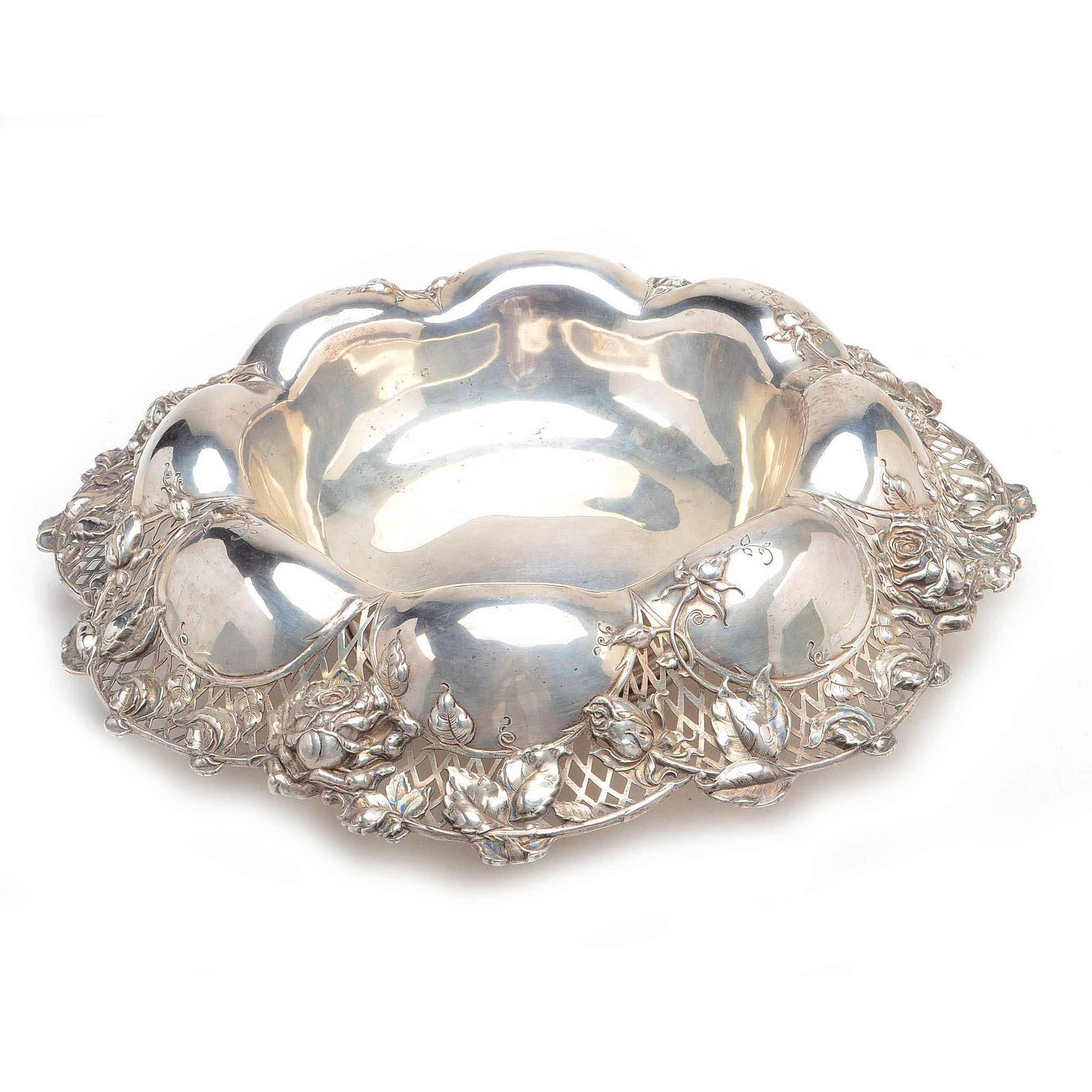 Sterling Silver Centerpiece Bowl With Rose Motif