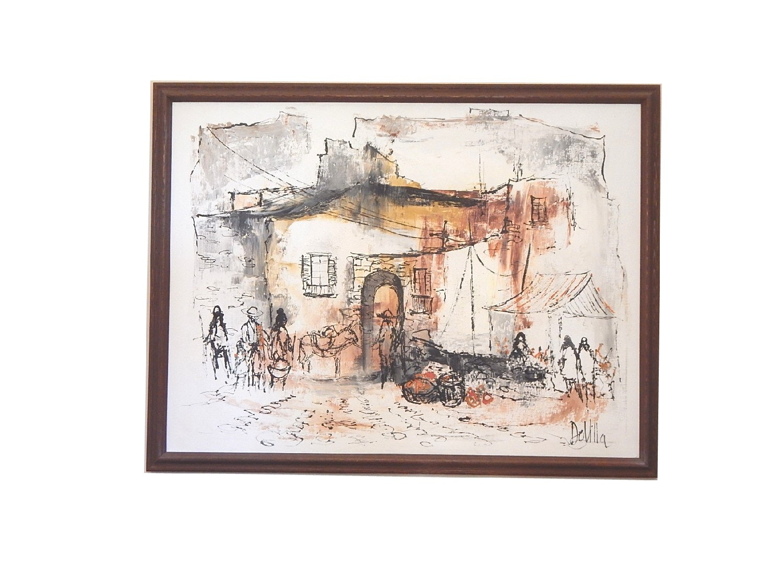 Large Original Oil on Canvas Signed DeVilla