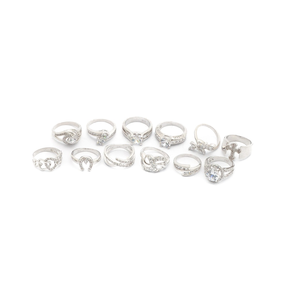 Silver Tone Fashion Rings with Cubic Zirconia