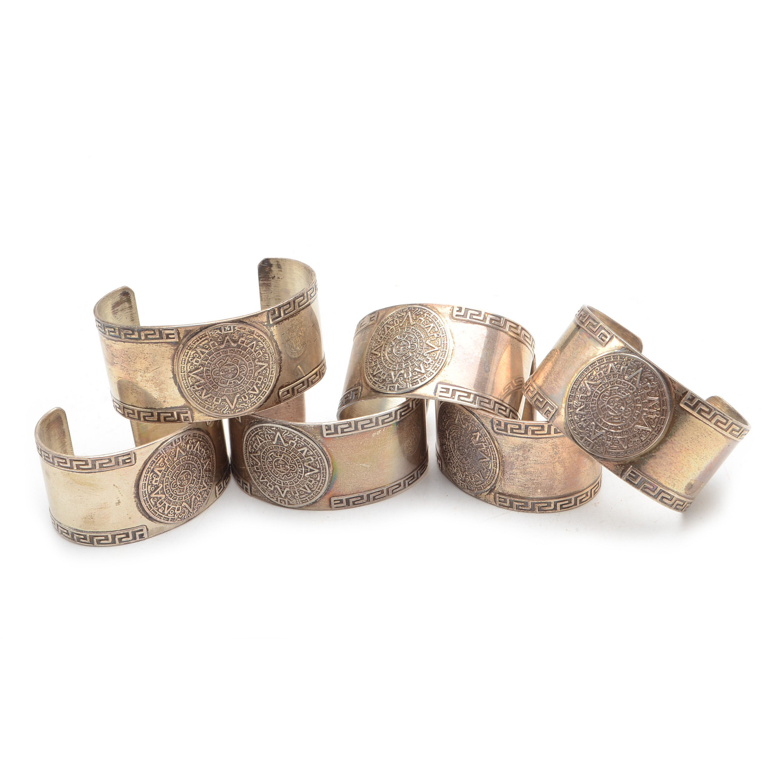 Set of Six Sterling Silver Aztec Calendar Napkin Rings