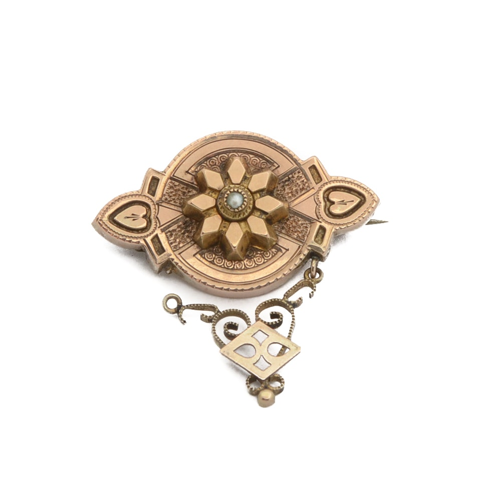 Antique 10K Yellow Gold Brooch